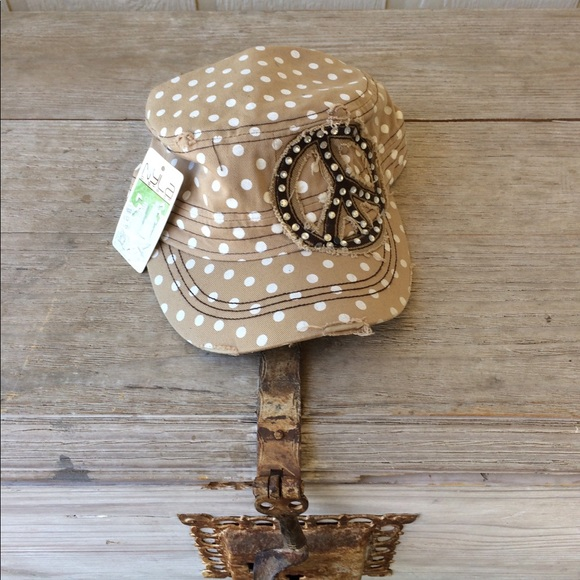 9a4e94b18f1 NYLA hat - Tan with White Dots - Sequin Peace Sign